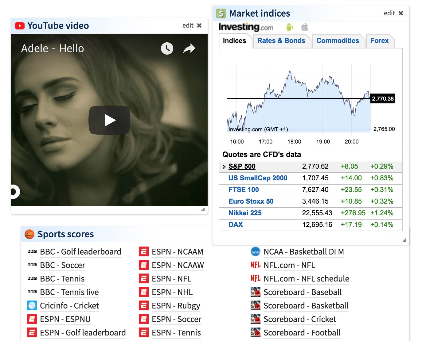 Protopage News Blog » Blog Archive » New YouTube, Market Indices and